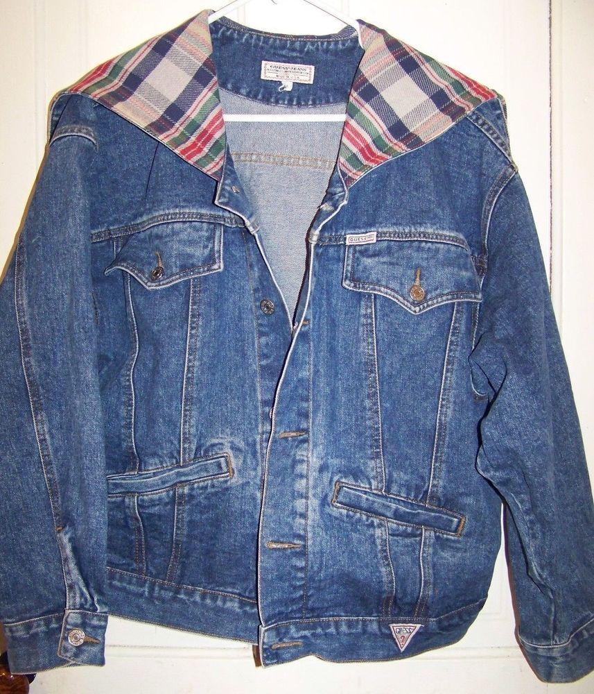 Womens Guess Jean Jacket Hooded Vtg Large Denim Plaid Lined Varsity Zipper Hood Guess Jeanjacket Casual Guess Jeans Jacken Jeansjacke [ 1000 x 857 Pixel ]