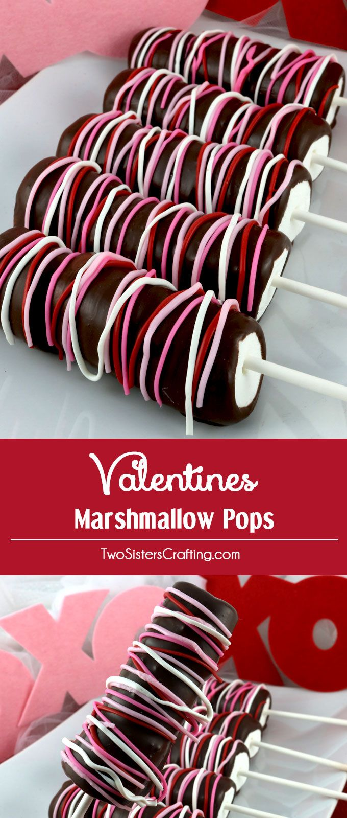 Valentines Marshmallow Pops - a colorful and delicious Valentine's Day dessert for your family. So easy to make and you won't believe how yummy these Chocolate covered Marshmallow Wands are. They would be a great Valentines Treat for your loved ones. Pin this delicious Valentine's Candy for later and follow us for more great Valentine's Day Food Ideas. #chocolatepops