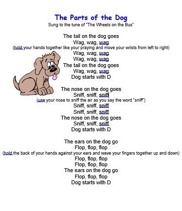 Kids Song Quot The Parts Of The Dog Quot Preschool Ideas