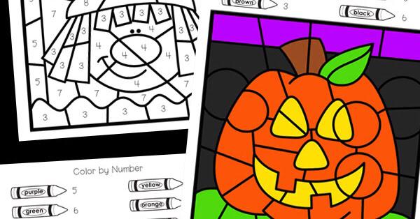 Halloween Color by Number | Halloween coloring, Halloween ...