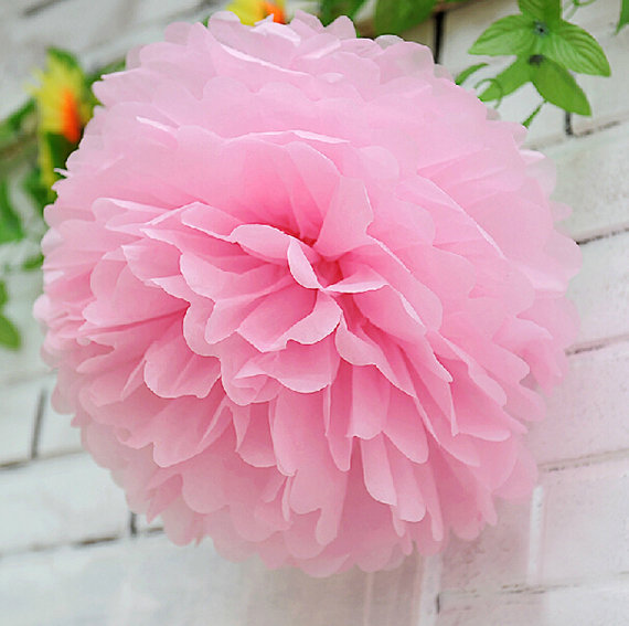Set of 5 Baby Pink Tissue Paper Flower Pom by partypapersupply
