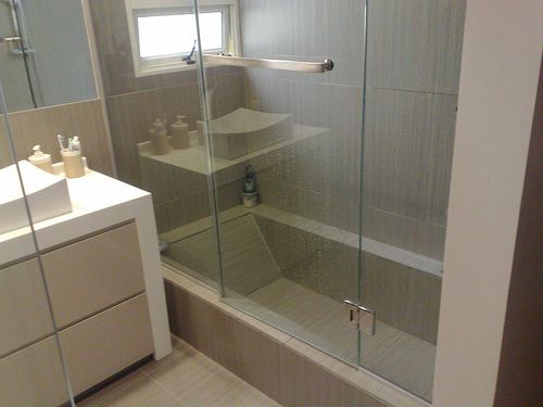 1st Floor Full Bath By Mudroom Shower With Shallow Tub