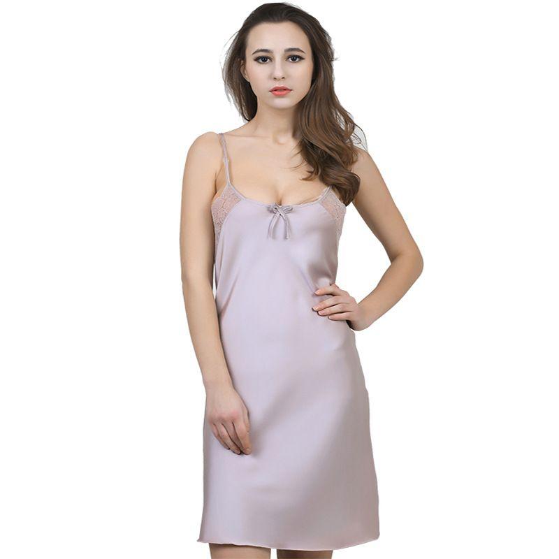 22a9da63dc Summer Night Dress Women Sleepwear Sexy Spaghetti Strap Lace V-Neck  Nightgown Solid Satin Nightwear HQ08  Affiliate