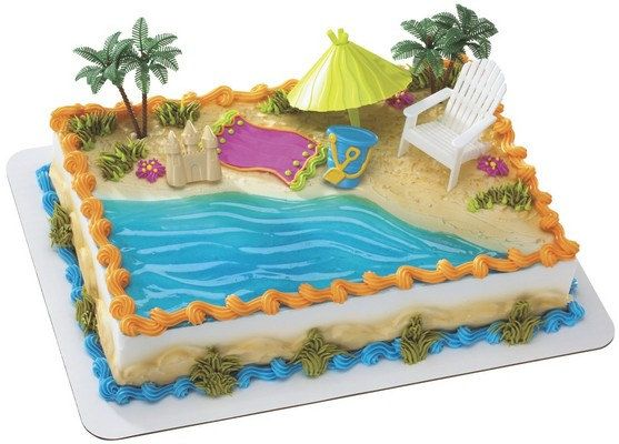 Beach Chair Umbrella Cake Topper Set 6 Piece Set With Images