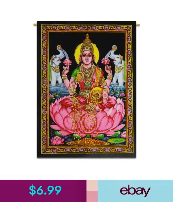 Goddess Laxmi Indian Wall Decor Cotton Tapestry