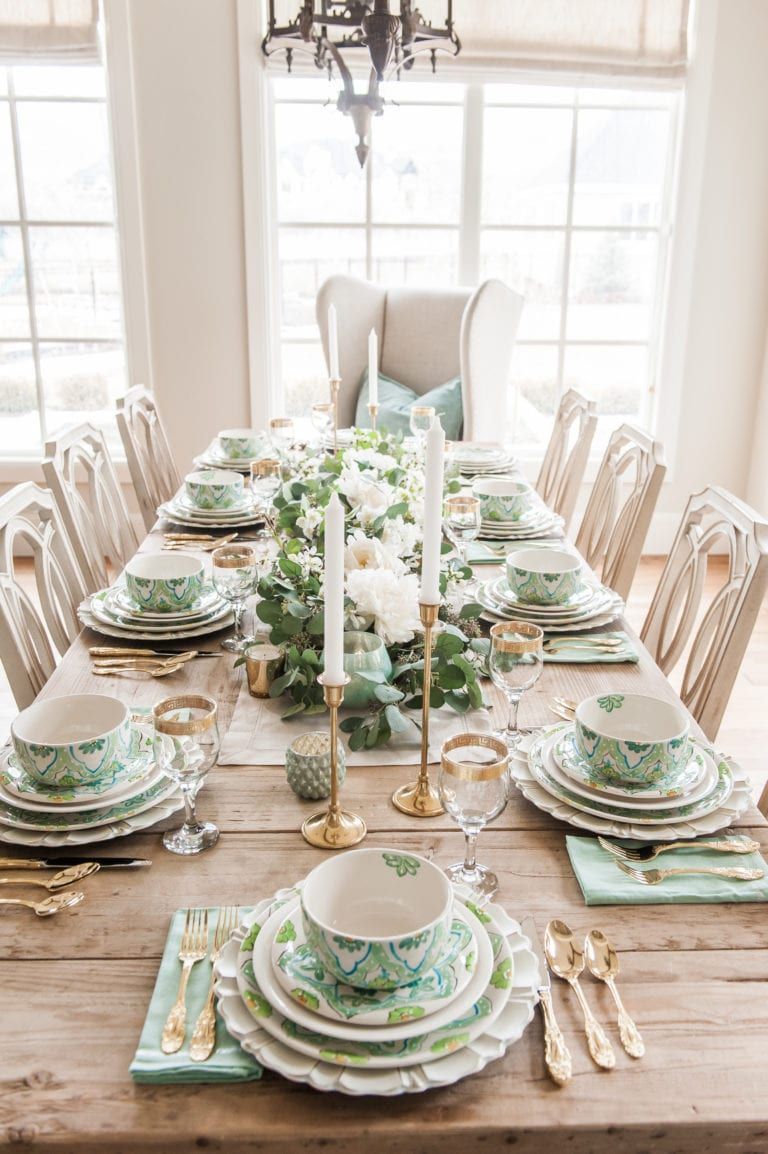 Tablescape For St Patricks Day Spring And Easter Dinner Table