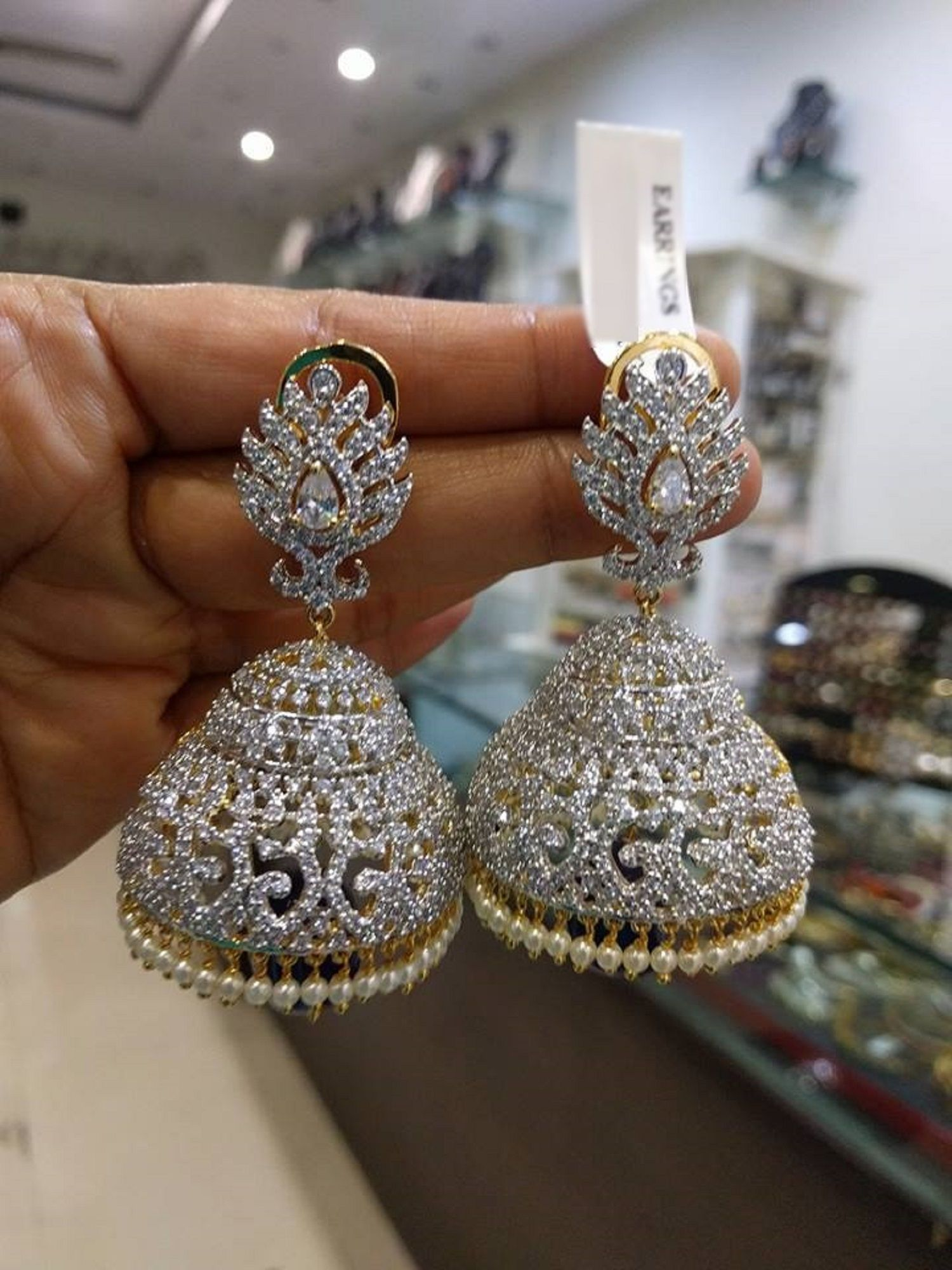 73f699a5a Most Beautiful Jhumkas/Earrings with American Diamonds Stones & Pearls (1gm  Gold) - Traditional and Fashion Indian Wedding Jewelry