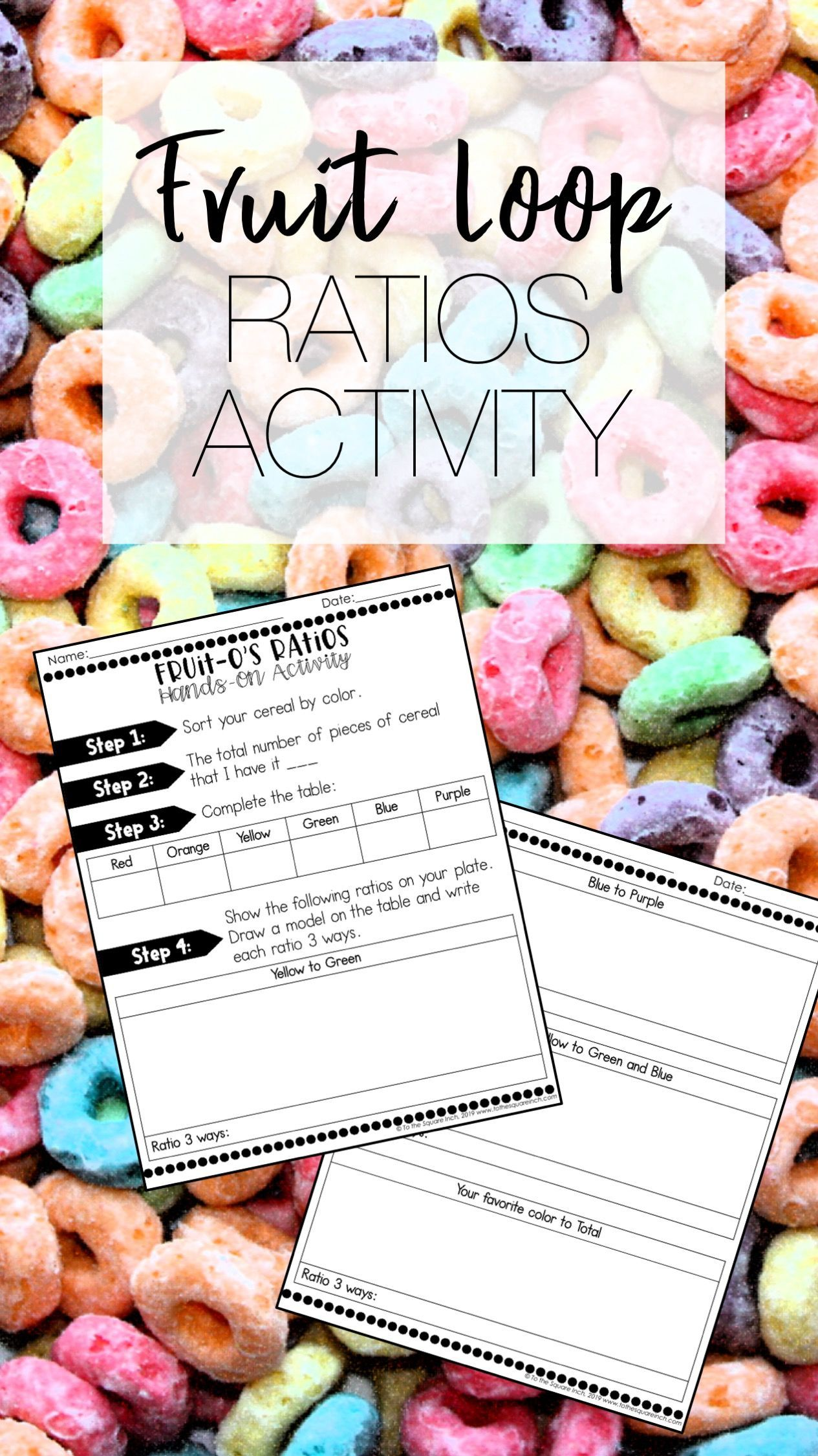 Ratios Activity Using Cereal Worksheet For Middle School