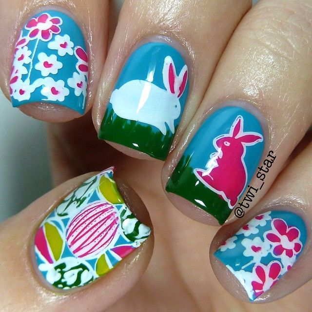"""@twi_star's photo: """"Here is the final look for my Easter Bunny reverse stamping collab with @bundlemonster!  If you want to see how I did each nail check my last posts for step-by-step pictorials!  And see a full tutorial with even MOAR pics by clicking the link in my bio to read the full blog post.  DON'T FORGET TO ENTER MY INTERNATIONAL GIVEAWAY TO WIN ALL THE @bundlemonster PRODUCTS USED IN THIS MANI  Get the look: Stamp plates - #BMH10 #BM302 @bundlemonster Blue - Sky Blue…"""