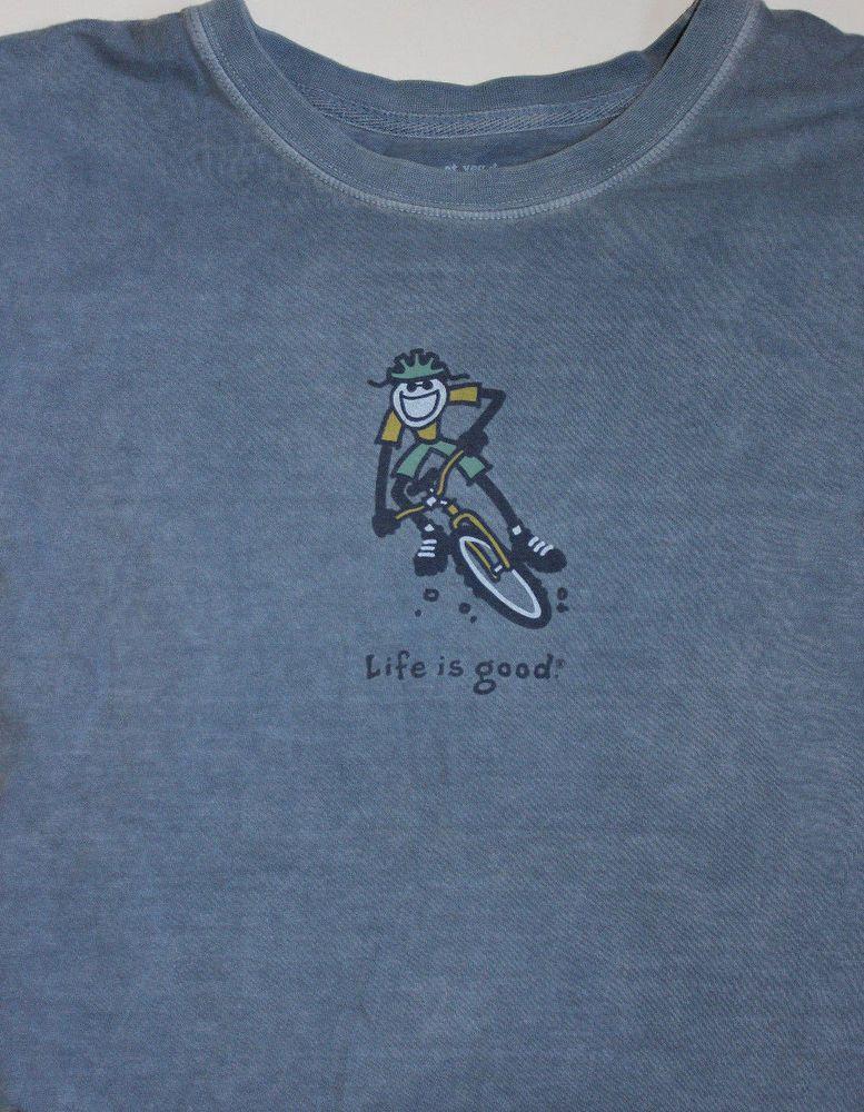 6a4848d3d11 Life Is Good T-shirt Men s Size XL Blue Mountain Bike  LifeIsGood   GraphicTee