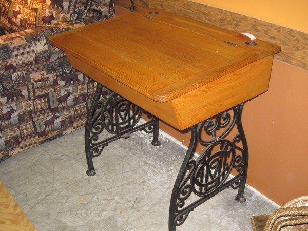 School Desk Antique Oak Iron Lift Top - School Desk Antique Oak Iron Lift Top Vintage School Desk