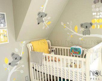 Baby wall decal animal koala bear tree wall sticker wallpaper wall decals murals stickers - Stickers koala chambre bebe ...