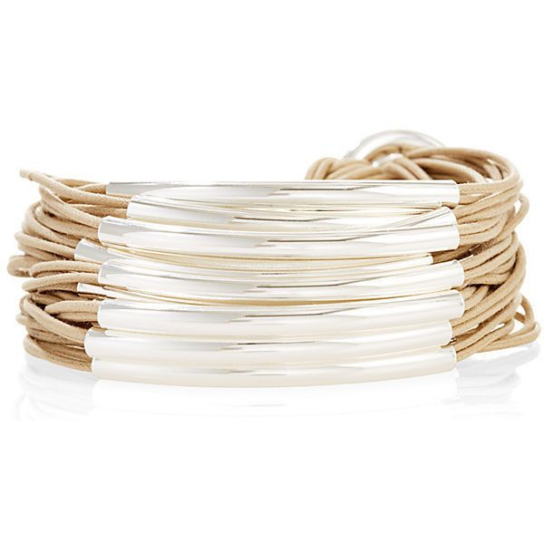 Silver Plated Tubes Bracelet Sand Strand/Chain Bracelets ($199) ❤ liked on Polyvore featuring jewelry, bracelets, sand jewelry, gillian julius jewelry, silver plated jewelry, silver plating jewelry and buckle jewelry