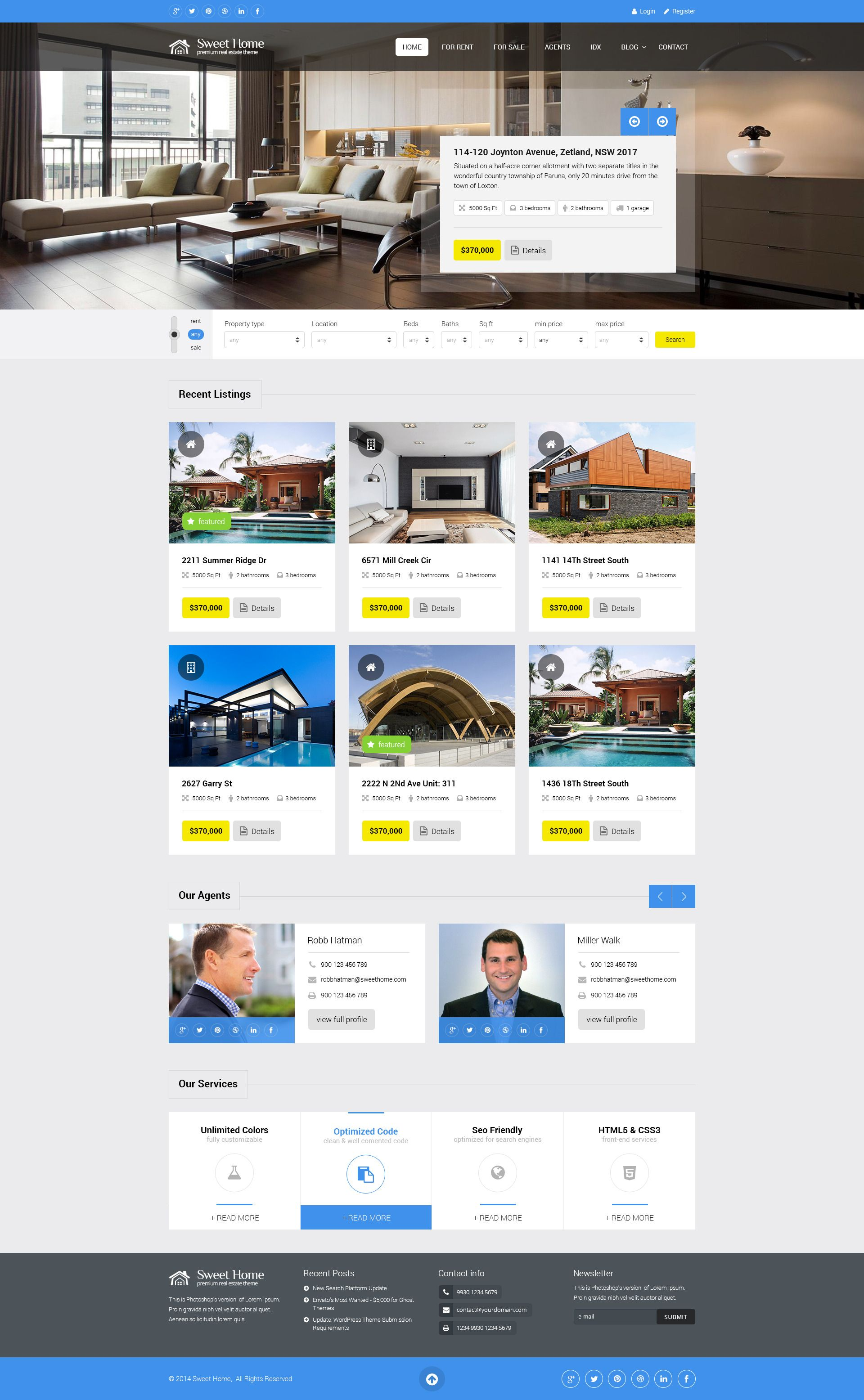 Sweethome Responsive Real Estate Wordpress Theme Agent House
