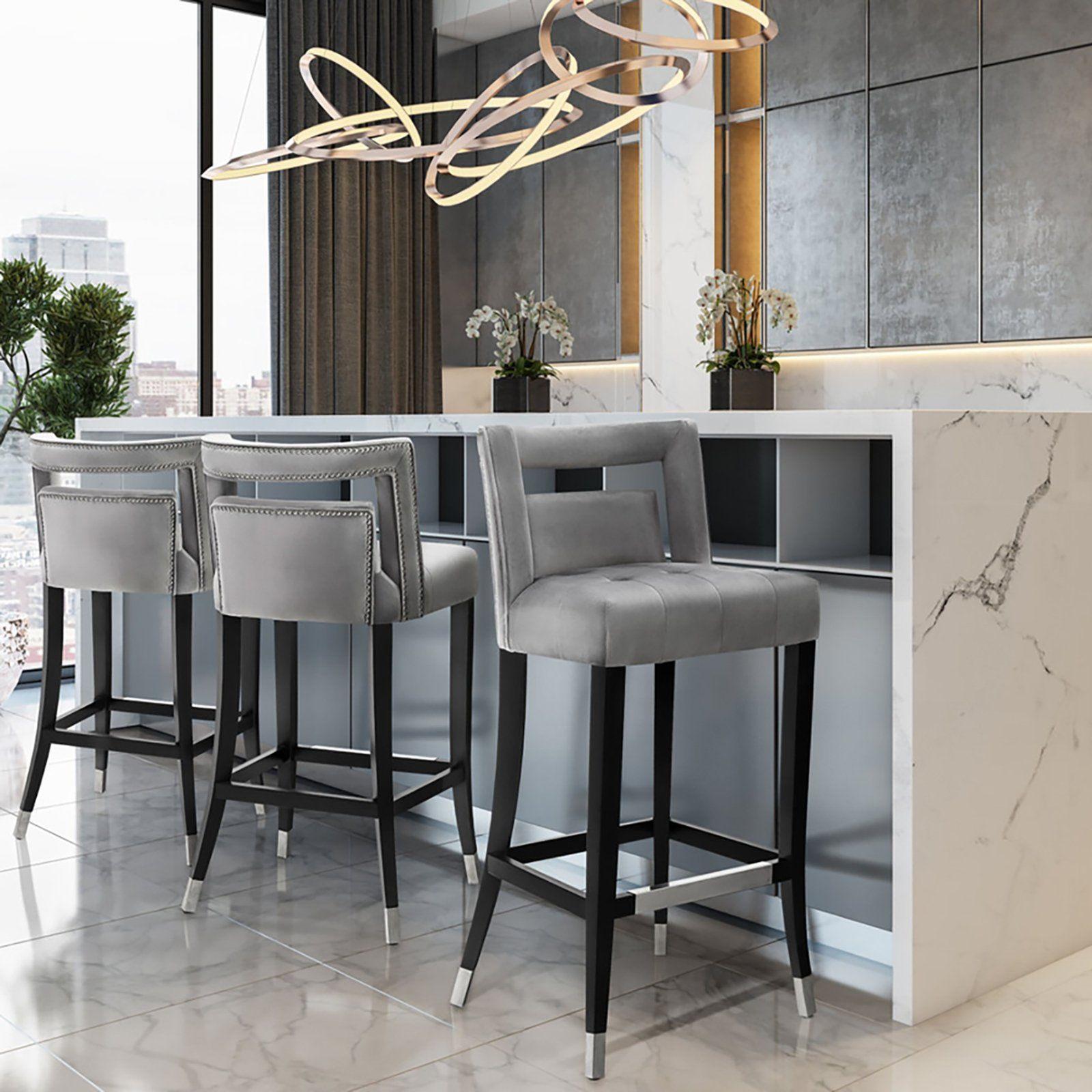 Candelabra Home Hart Velvet Bar And Counter Stool Grey Modern Bar Stools Kitchen Bar Stools Comfortable Bar Stools