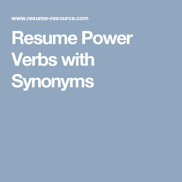 Resume Power Verbs Action Verbs