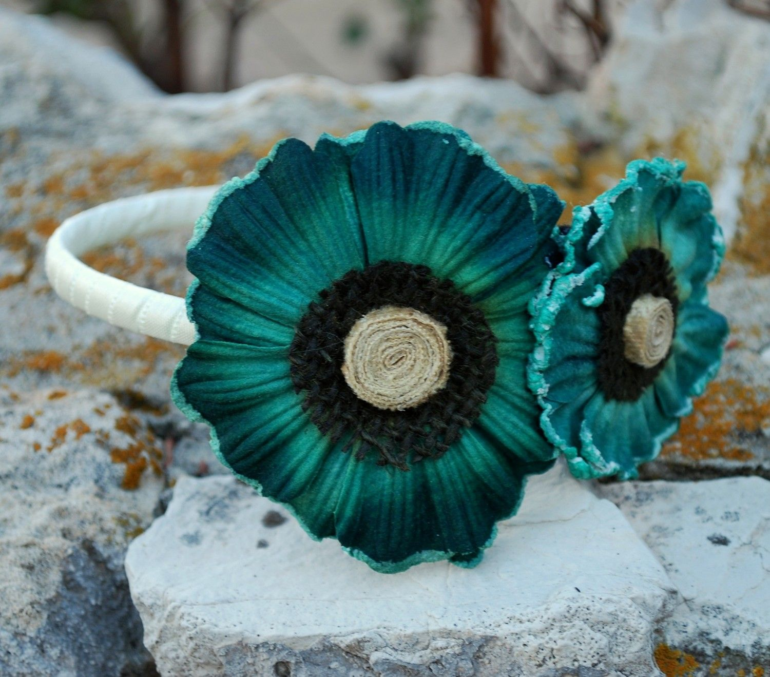 dark teal flower headband for women and teens: shannon. $18.00, via Etsy.