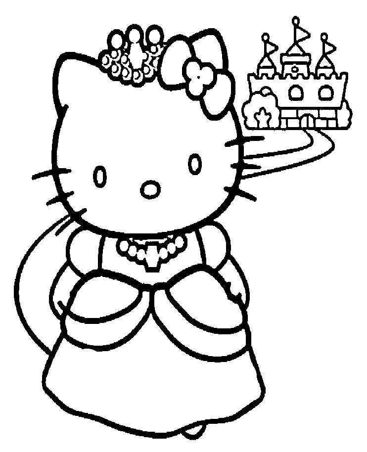 Hallo Kitty Princess Coloring Page With Images Hello Kitty