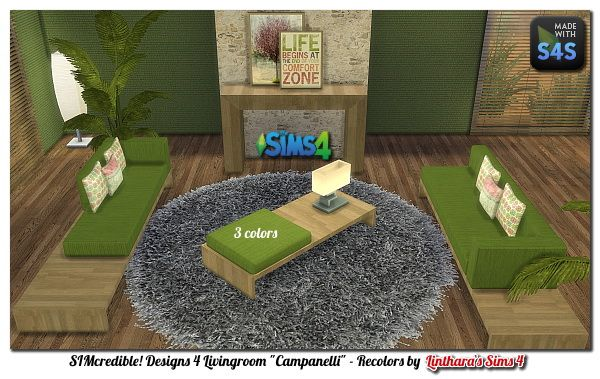 """Lintharas Sims 4: Livingroom """"Judy"""" - 3 colors • Sims 4 Downloads"""