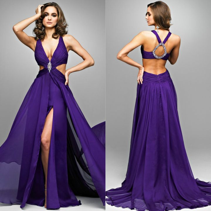evening dress | Discount Backless 2013 Chiffon Evening Sexy Dress ...