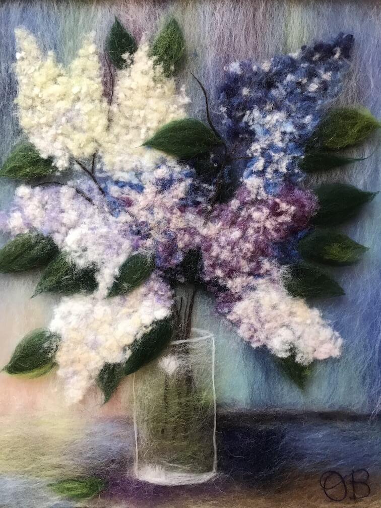 Wool Painting Bouquet Of Lilacs By Oksana Ball Online Shop Http Oksanaball Com Buket Sireni Kartiny Buket