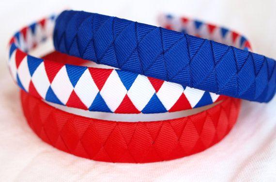 Set of 3 Preppy Grosgrain Ribbon Headbands  by PetiteBelleFleur