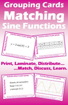 Grouping Cards Matching Sine Functions Teacher Favorite Things