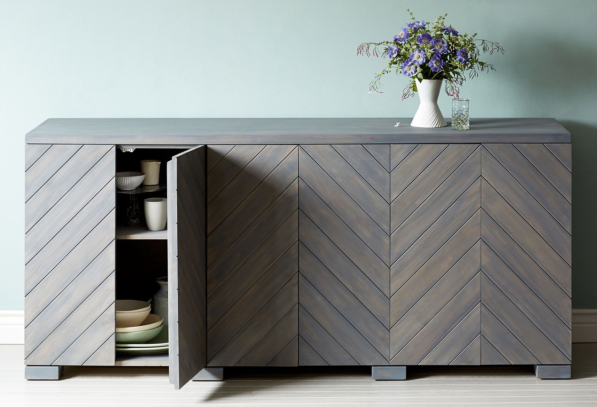 Kitchen cabinet design chevron wood with soft grey wash for Grey stained wood kitchen cabinets