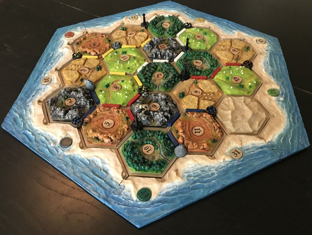 I made a 3D Catan set with LOTRthemed cities handmade