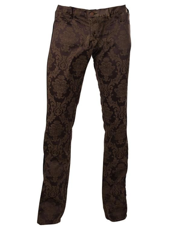 L'indien Boutique Pants men : Pants Aderlass Victorian Steampunk Brocade Pants Brown
