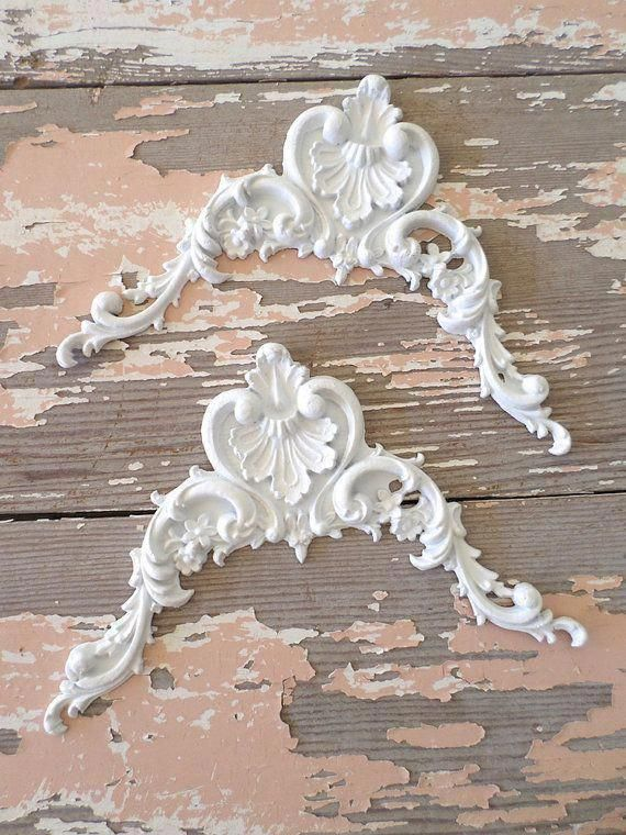 Photo of Shabby Chic Furniture Appliques * Architectural Carved Corners FLEXIBLE 5.95 NO LIMIT Shipping