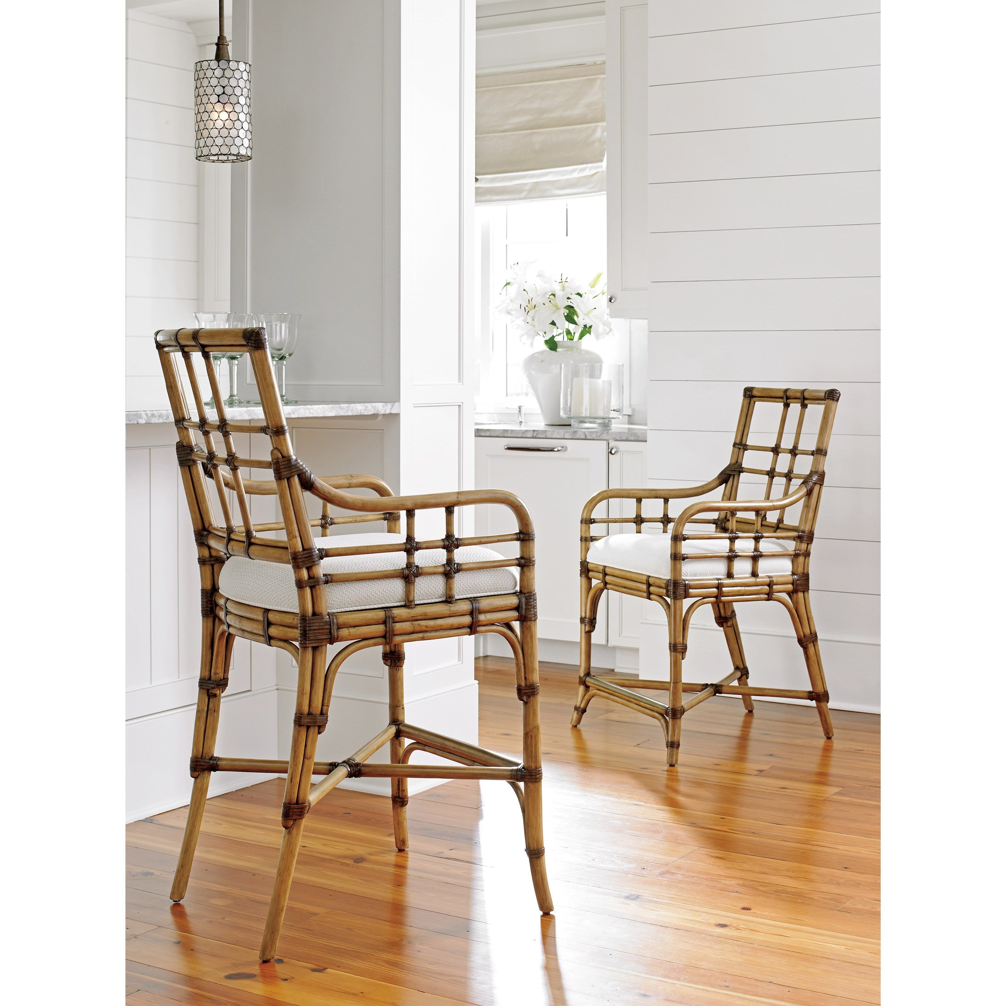 Twin Palms Lands End Bar Stool in Sand Dollar Fabric by Tommy Bahama ...