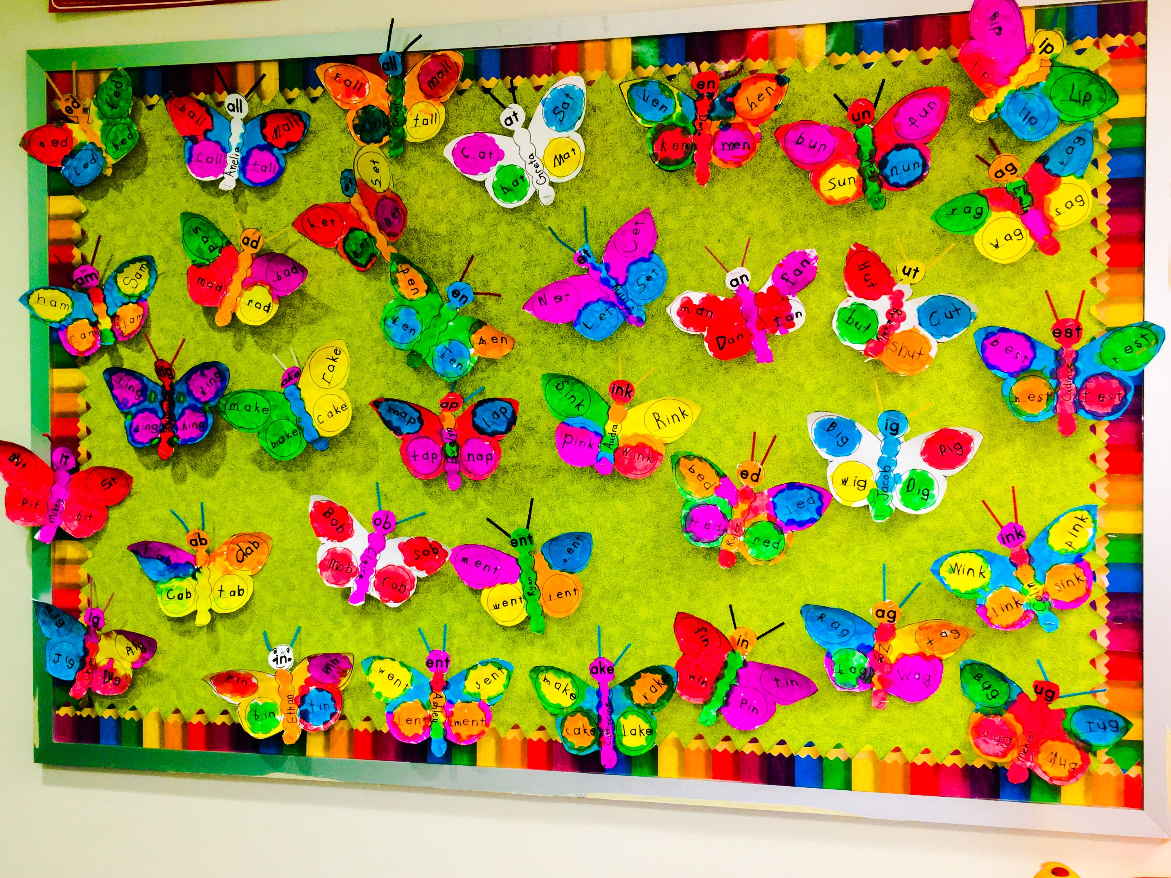 Create A Beautiful Butterfly Word Family Spring Bulletin