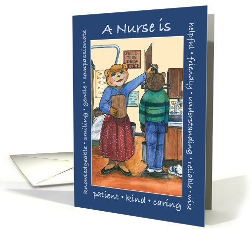 Qualities of a school nurse nurses day greeting card by lori qualities of a school nurse nurses day bears and student card m4hsunfo