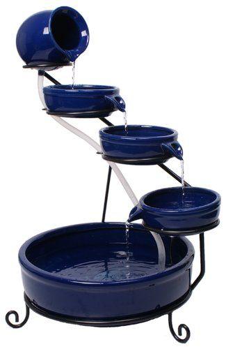 Primrose Ambiente Cascade d\u0027eau solaire en céramique Bleu Fontaine - fontaine a eau d interieur