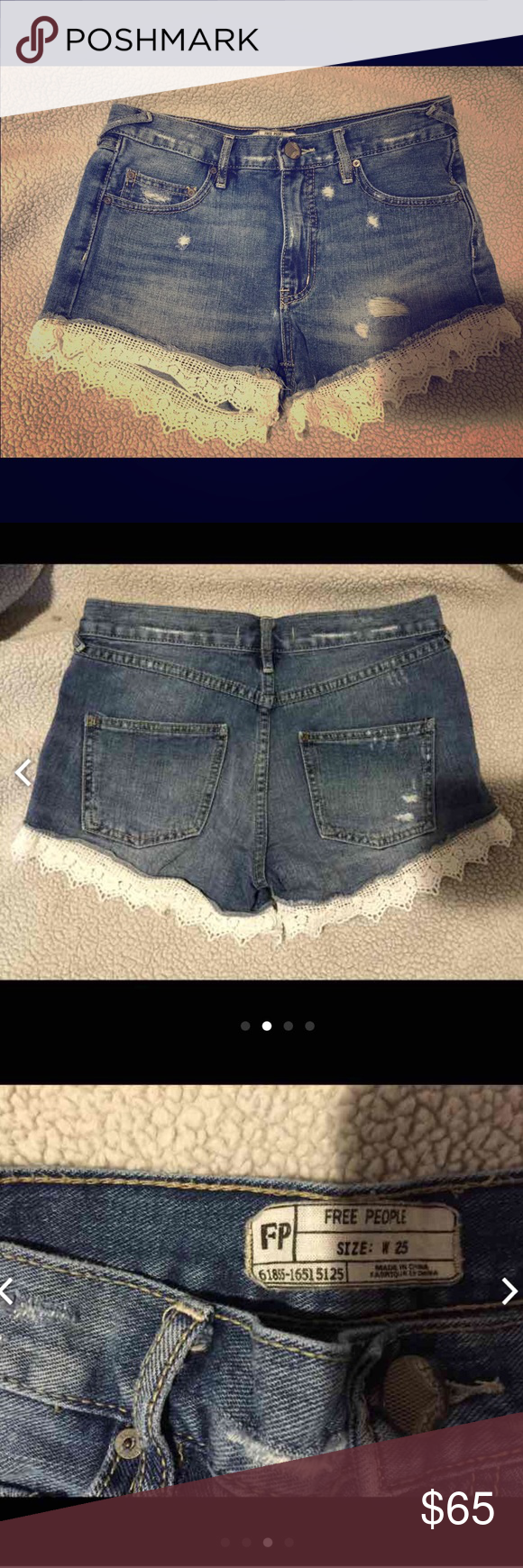 Free People Lacey Denim Cut off Shorts Size 25 Have three pairs of these free people shorts all in a size 25, I need a size up! One pair is a shade lighter, another pair is the same shade. If you want a better deal ask for me for my ♏️ercari account. Free People Shorts Jean Shorts