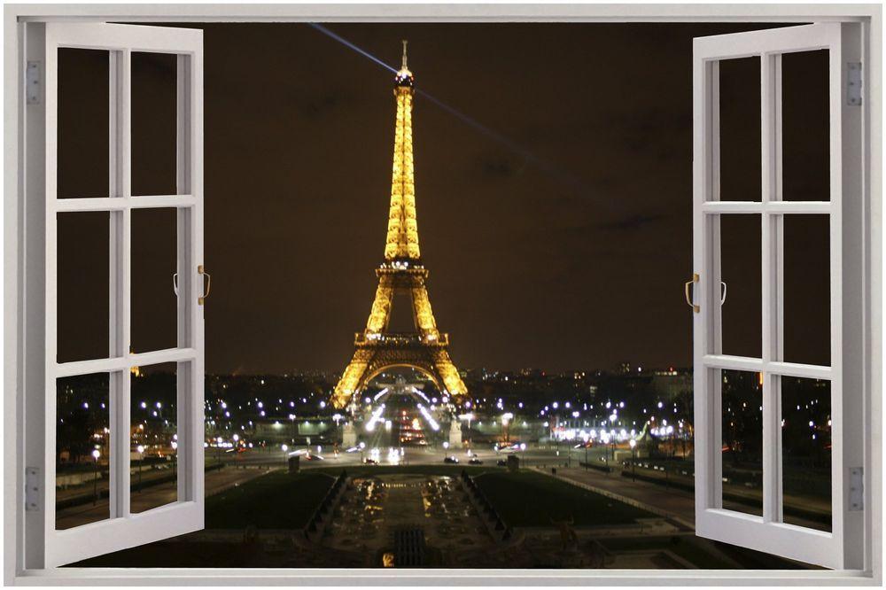 Captivating Huge 3D Window Eiffel Tower Paris View Wall Sticker Mural Art Decal  Wallpaper 46 | Home