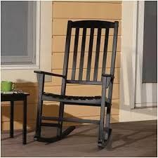 Mainstays Outdoor Rocking Chair, Black  The contemporary design of this Mainstays's Outdoor Wooden Porch Rocker is ideal for relaxing on your front porch. The wooden porch rocker provides a contemporary look that will go with nearly any decor. You can use it as it is or accessorize it with seat cushions. This outdoor rocker is constructed of FSC-certified hardwood and is weather-treated to provide durability for many years. The backrest slats and a wide seat of this black porch rocke..