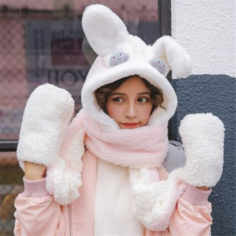 3746cffc6320a Rabbit hat scarf and gloves all in one for girls plush hat with mittens  attached