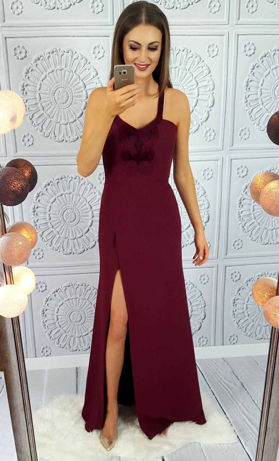 ef9c1fb69e Długa bordowa elegancka sukienka na bal