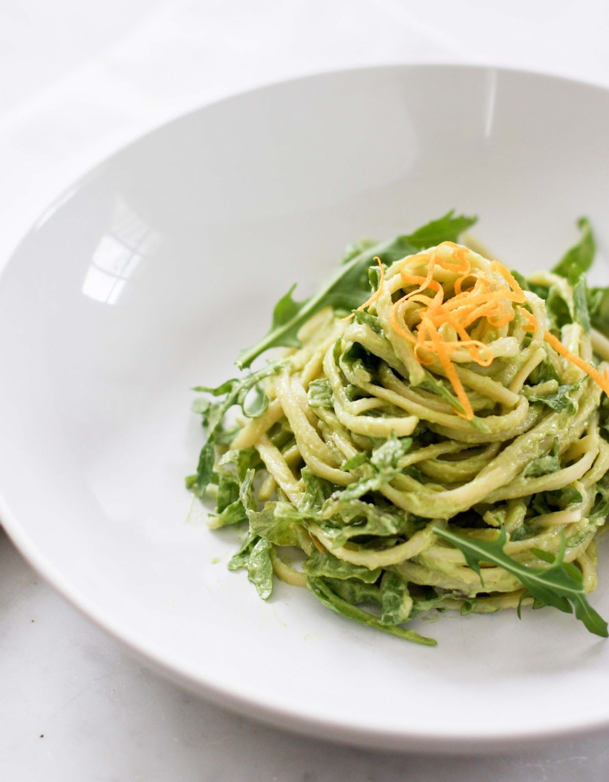 A really great combination in this Creamy Avocado Linguine with Meyer Lemon and Arugula recipe.