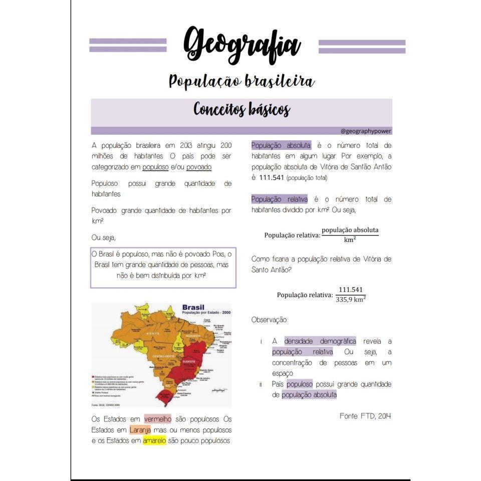 Geografia Resumo Populacao Conceitos Studygram Studymood Com