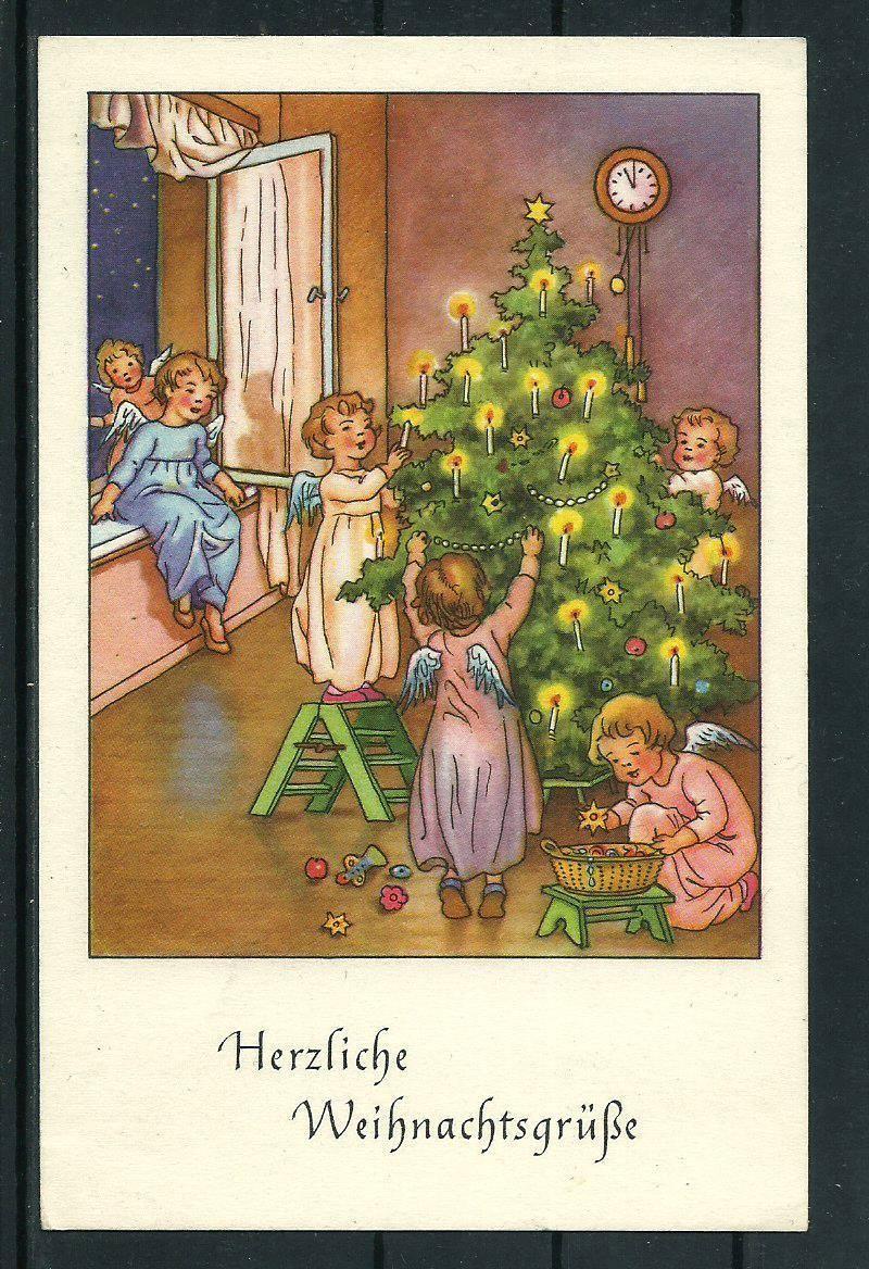 Weihnachtsgrüße Christkind.Ak Weihnachten Engel Weihnachtsbaum Ebay Alte Adventskalender
