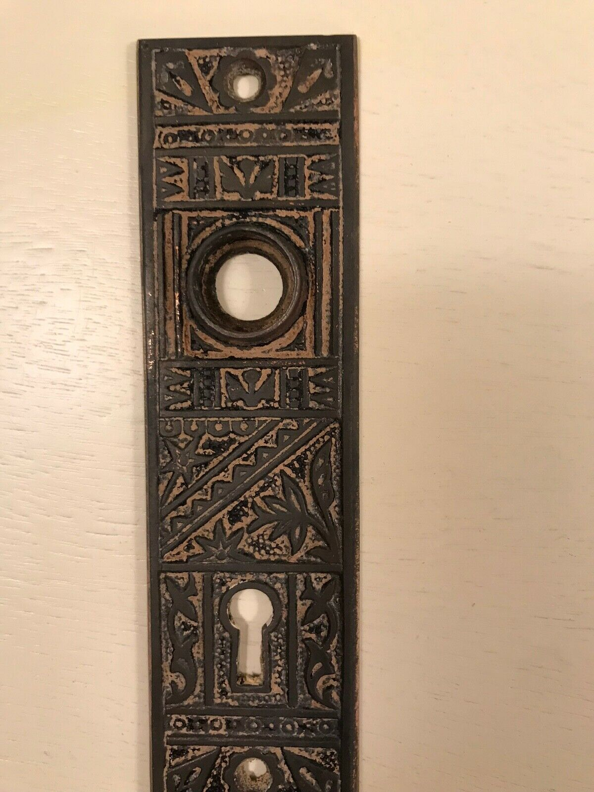 Antique Brass Finger Plates Push Door Handle Vintage Old Gilded Beading Victoria