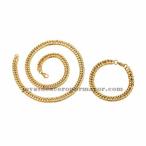 0d5e75670dc1 juego collar y brazalete estilo simple dorado en acero inoxidable para  hombre…