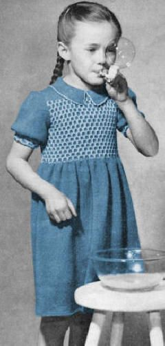 Girls Dress with Smocked Bodice Vintage Knitting Pattern for download Sz 2-6