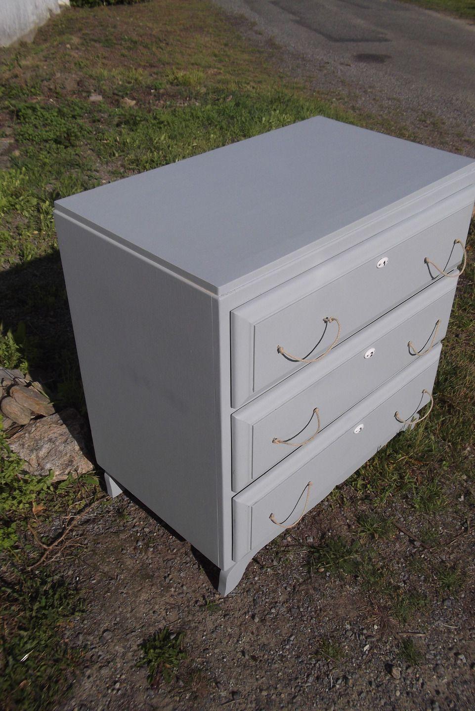meuble commode ancienne en bois 3 tiroirs style bord de mer bleu grise meubles et