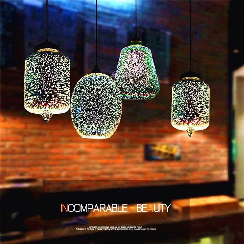 3D Firework Ceiling Light Chandelier Glass Droplight Lampshade Bar Decor Lamp