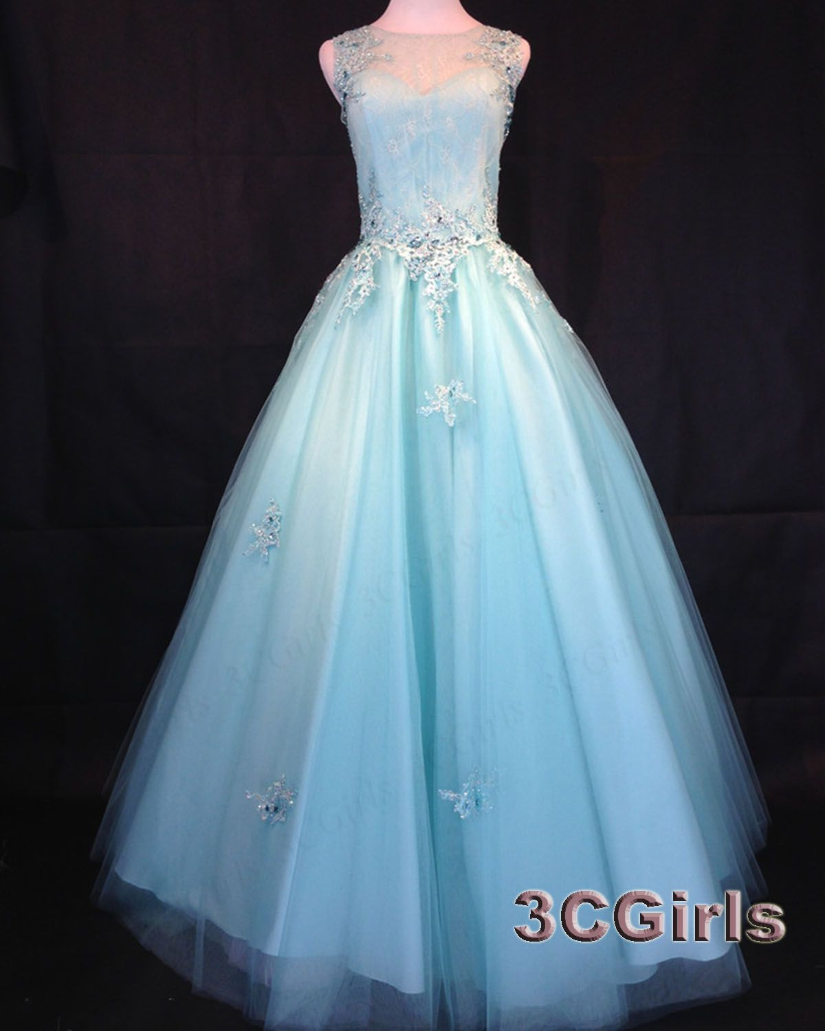 Pretty poofy prom dresses, long ball gown, modest sky blue tulle ...