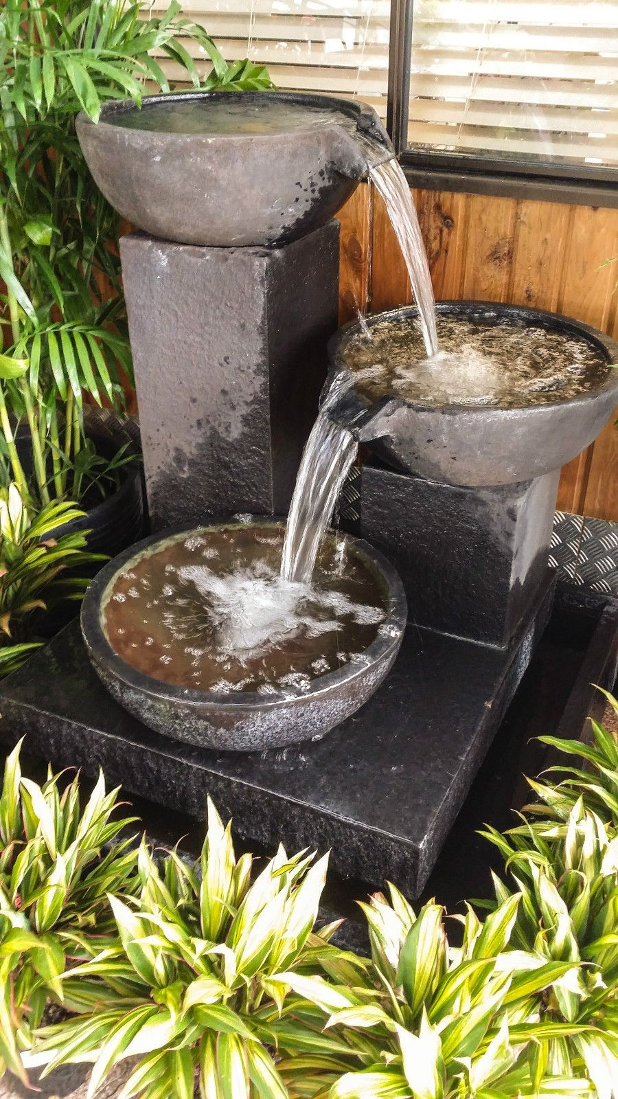 Large Outdoor Garden Water Feature Cascading CUP Fountain Black Stone  Bronze | EBay